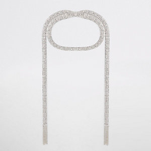 Silver diamante cupchain layered choker