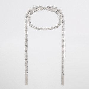 Zilverkleurige gelaagde chokerketting met diamantjes