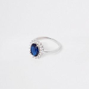 Silver tone cubic zirconia stone ring