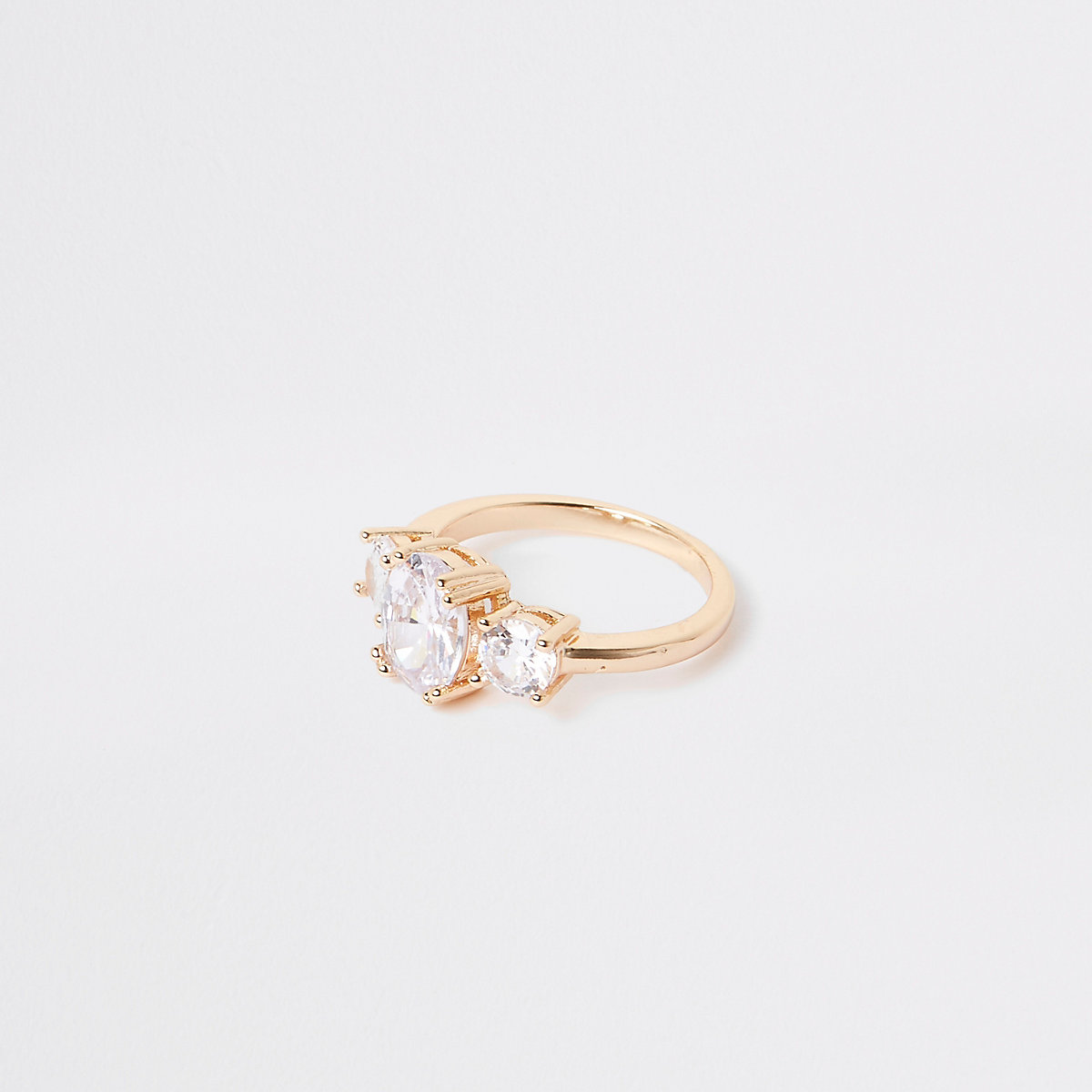Gold tone cubic zirconia ring