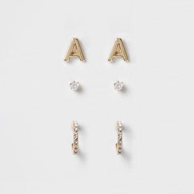Gold Plated 'A' Cubic Zirconia Stud Multipack by River Island