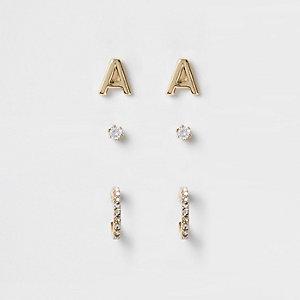 Multipack vergulde oorknopjes met cubic zirkonia en de 'A'