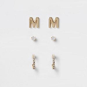 Multipack vergulde oorknopjes met cubic zirkonia en de 'M'
