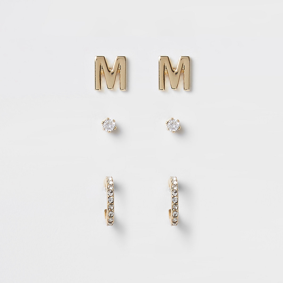 Gold plated 'M' cubic zirconia stud multipack