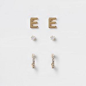 Lot de boucles d'oreilles plaqué or dont une paire en « E »