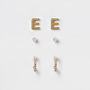Multipack vergulde oorknopjes met cubic zirkonia en de 'E'
