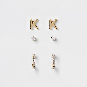 Gold plated 'K' cubic zirconia stud multipack