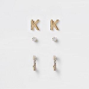 Multipack vergulde oorknopjes met cubic zirkonia en de 'K'