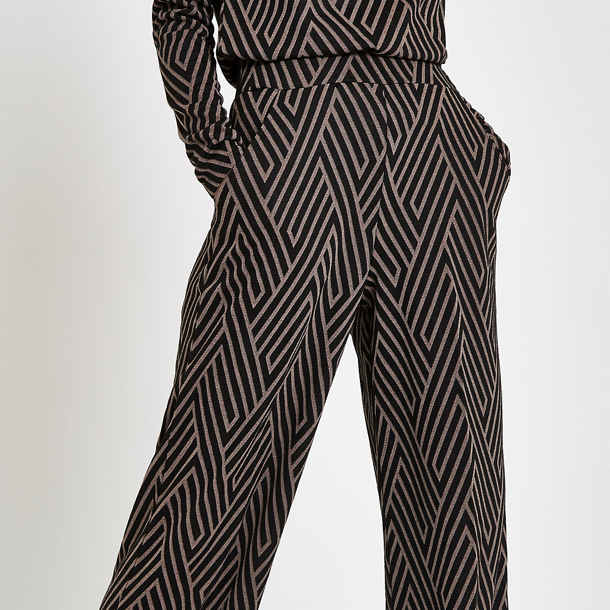 Black Geo Print Jacquard Wide Leg Trousers Pants