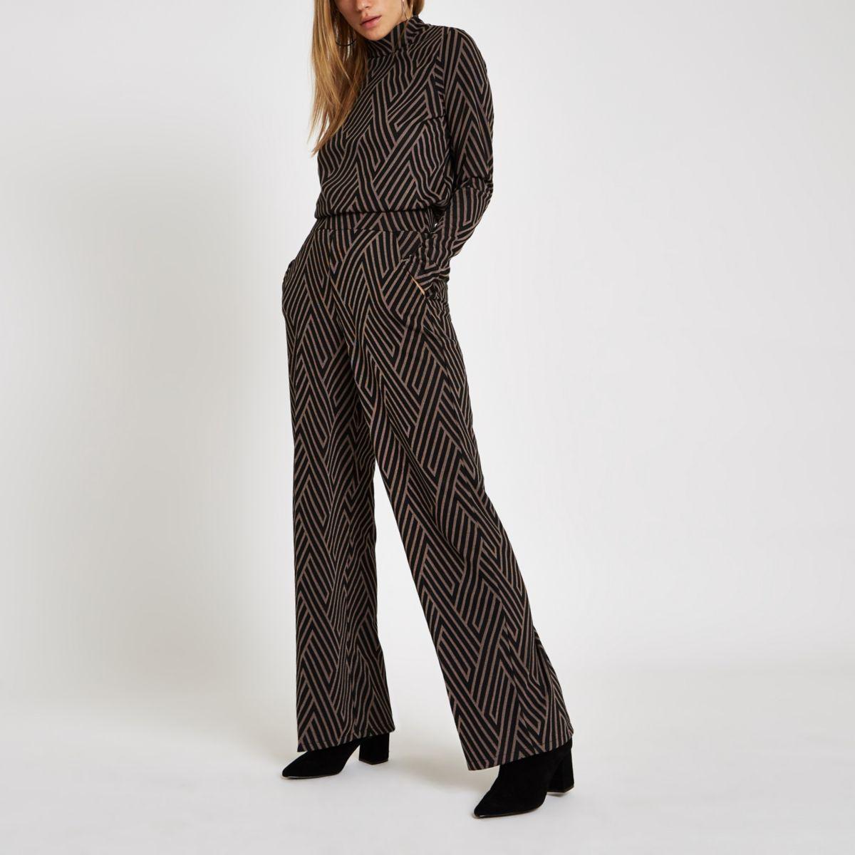 Black geo print jacquard wide leg pants