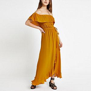Petite – Gelbes Bardot-Maxikleid