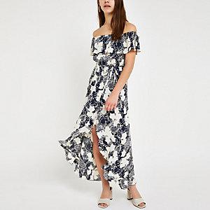 Petite – Robe longue Bardot à fleurs bleue