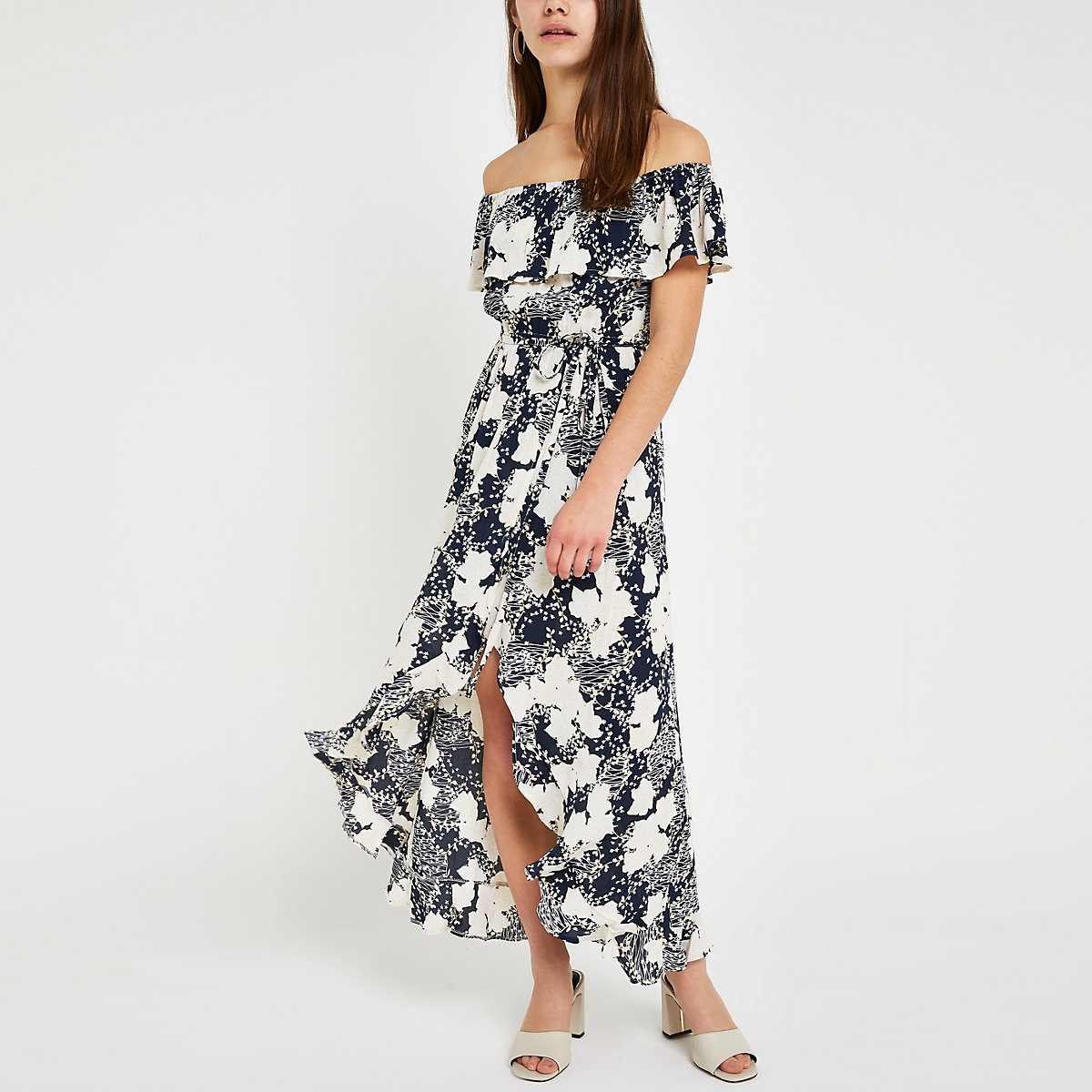 Petite blue floral bardot maxi dress