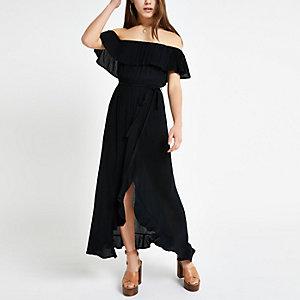 Petite – Robe longue Bardot noire nouée à la taille
