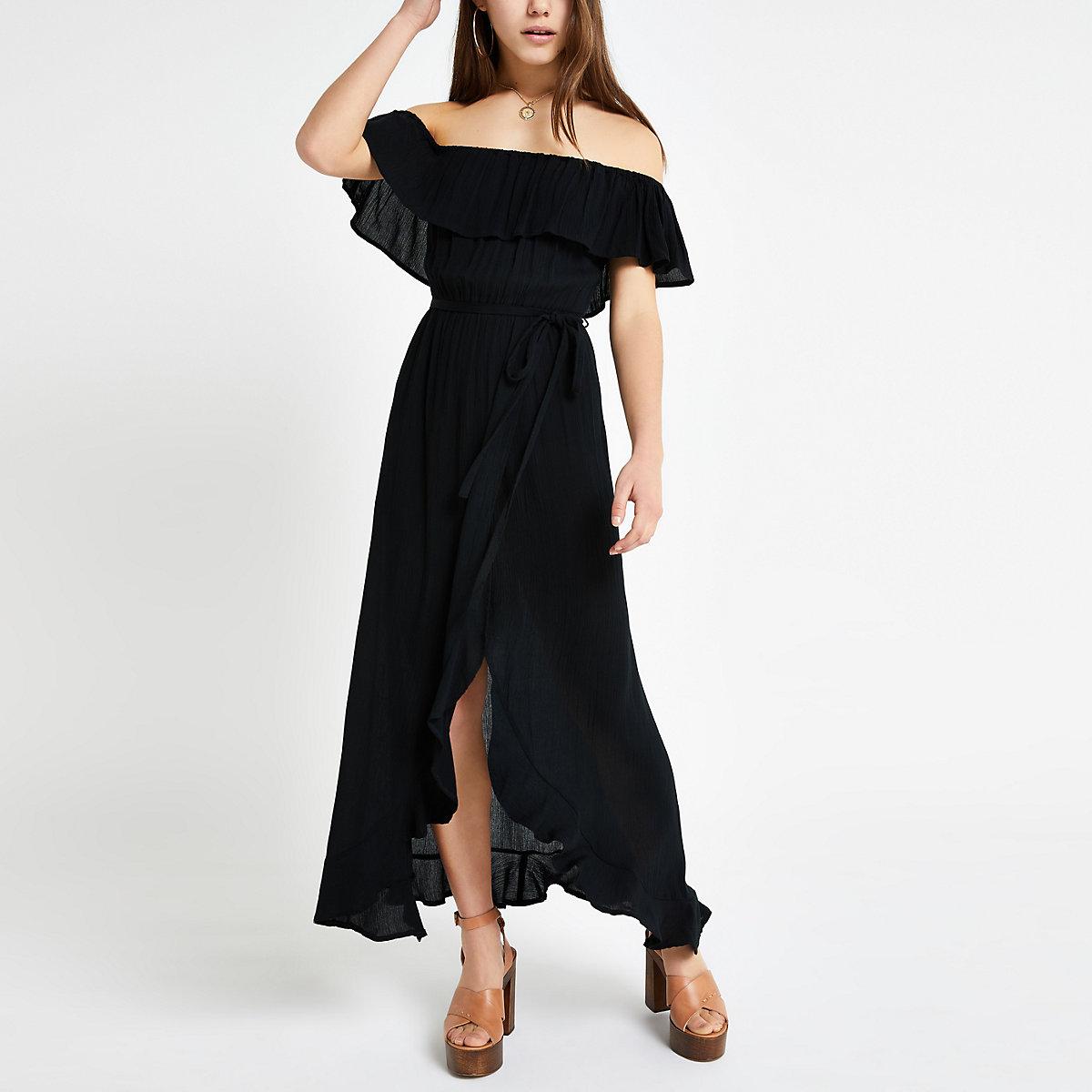 Petite black bardot tie waist maxi dress