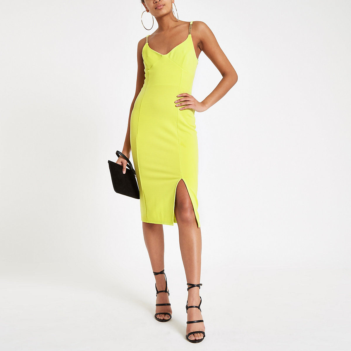 Bright yellow ribbed rhinestone trim midi dress