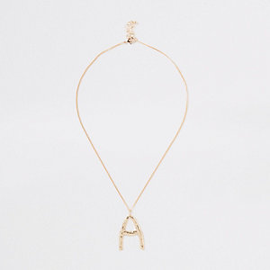 Gold color large initial 'A' necklace