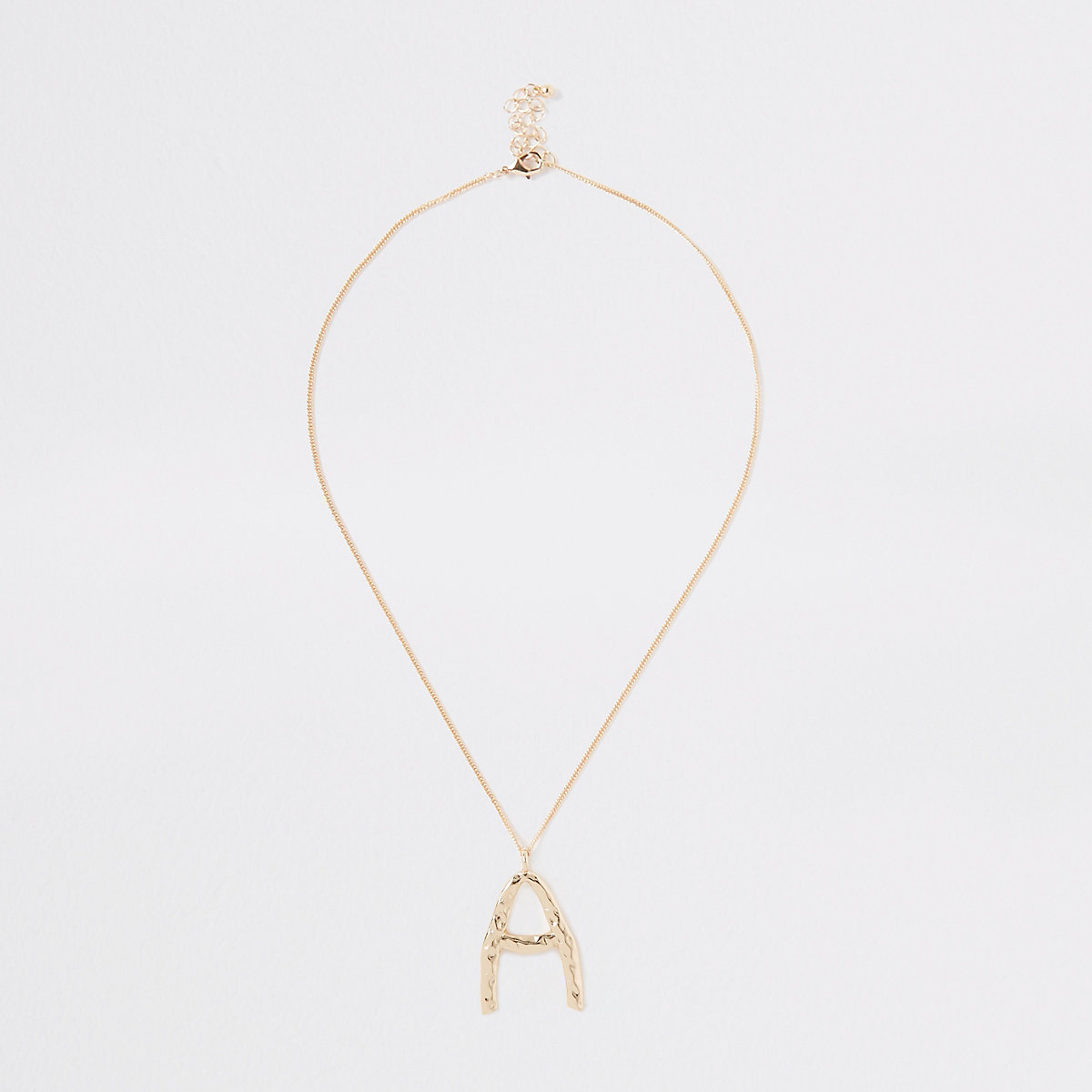 Gold tone large initial 'A' necklace