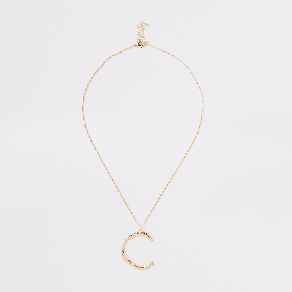 Gold tone large initial 'C' necklace
