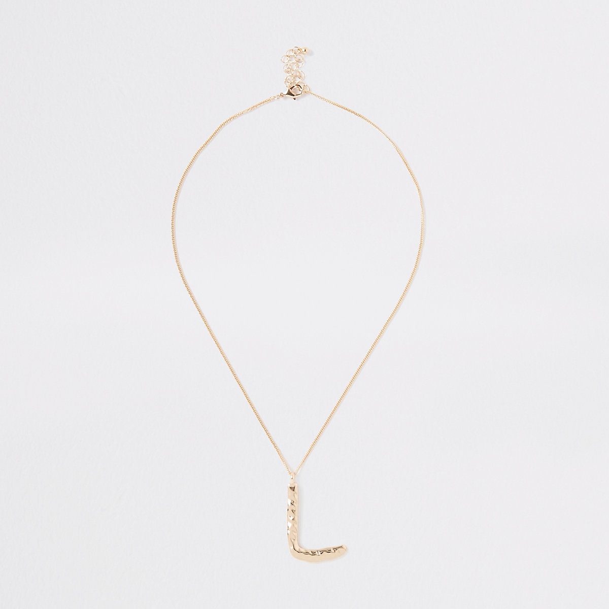 Gold color large initial 'L' necklace