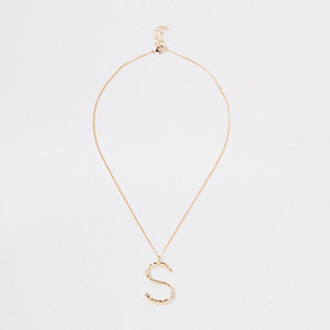 Gold tone large initial 'S' necklace