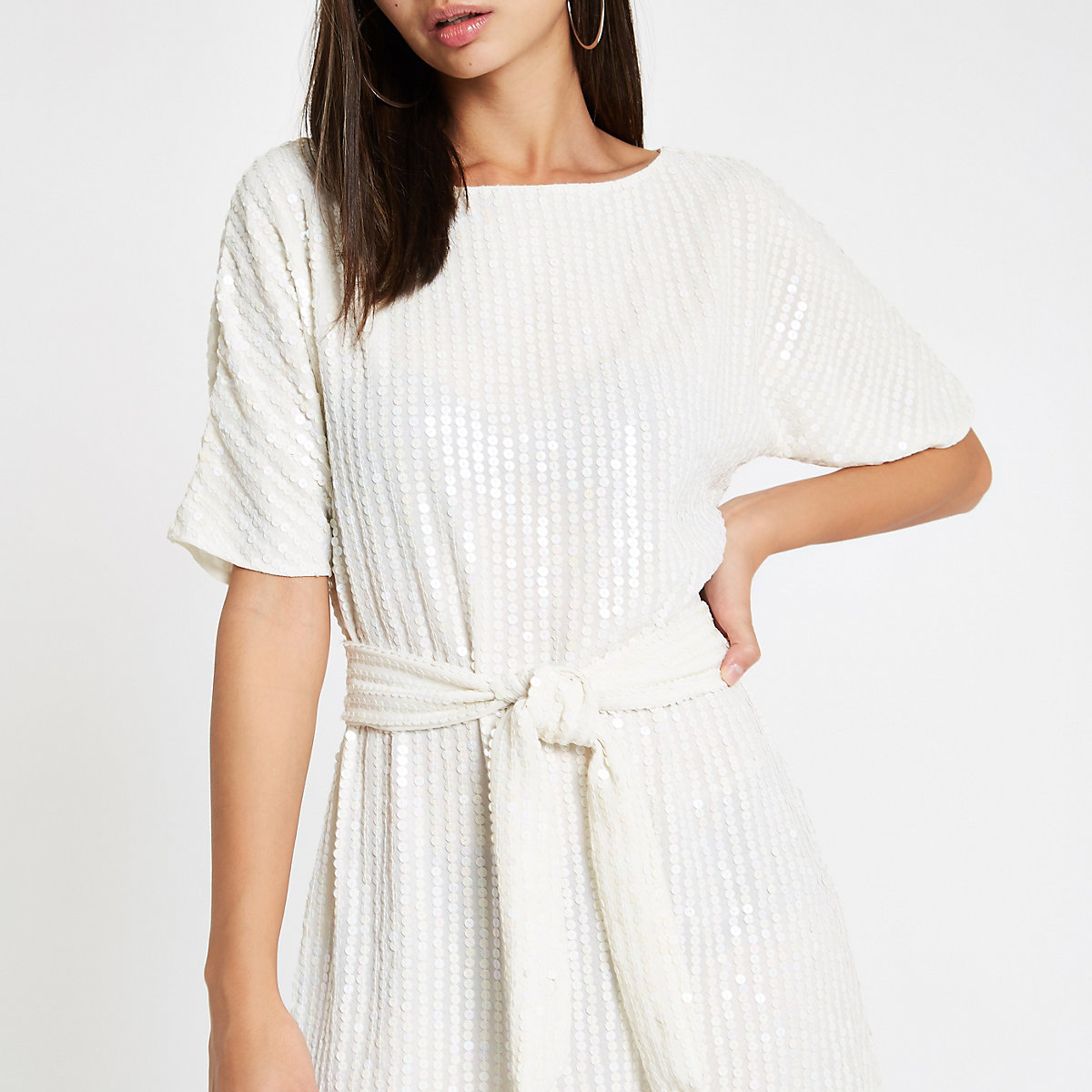 White sequin tie waist tunic dress