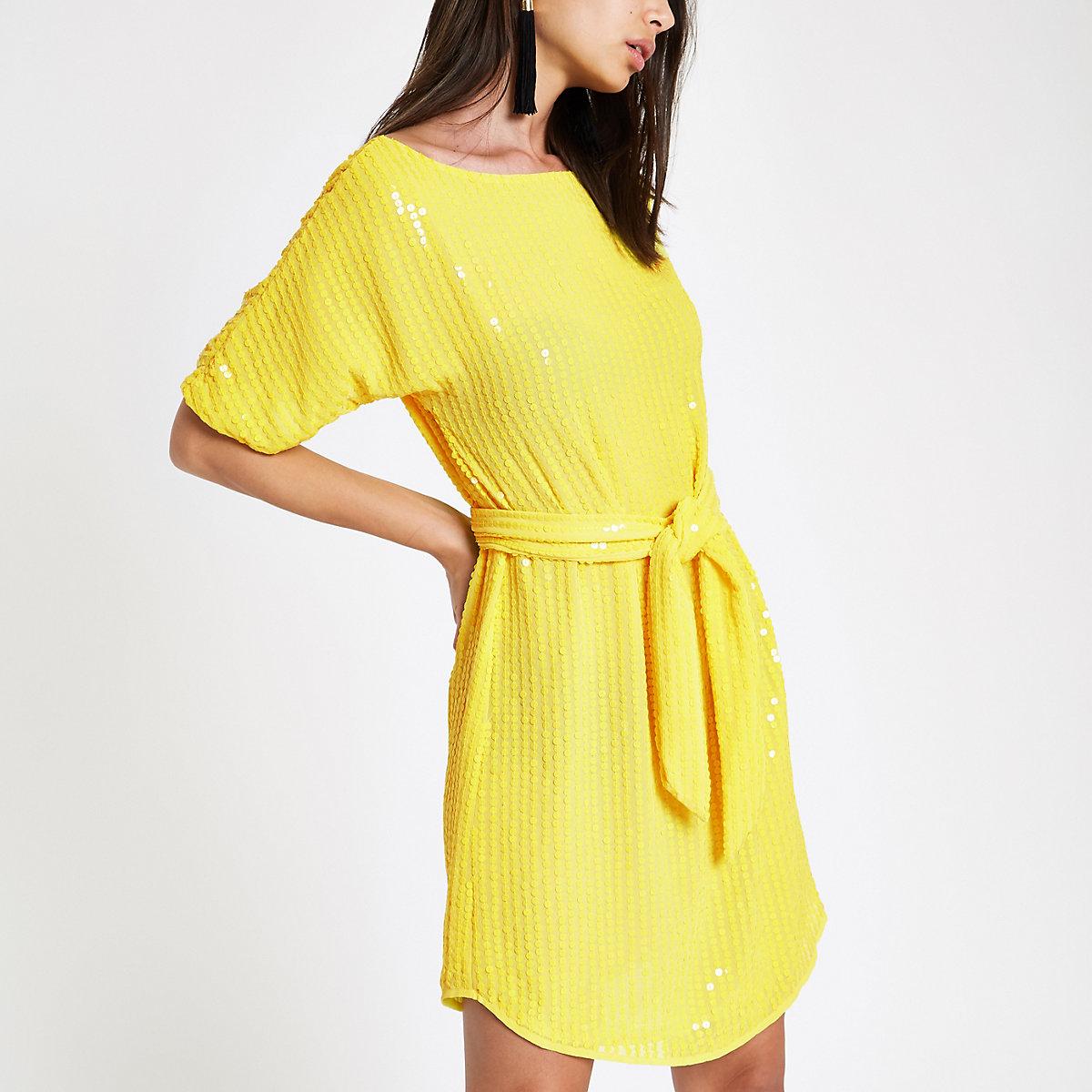 Yellow sequin tie waist tunic dress