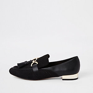 Black snaffle tassel loafer