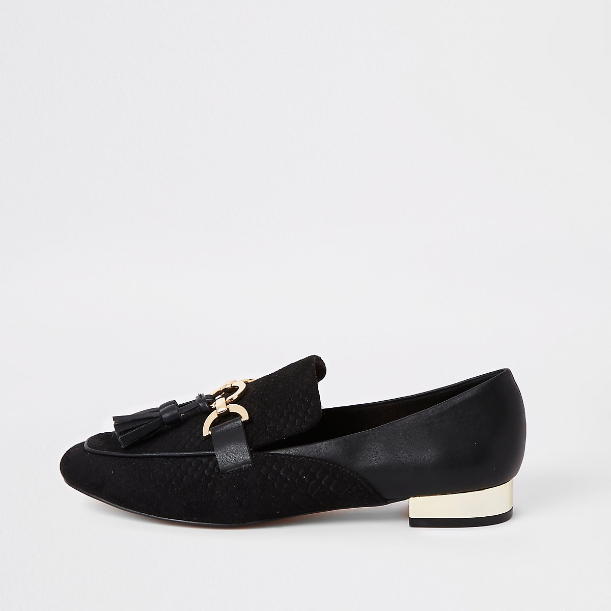 Black snaffle tassel loafer