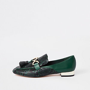 Groene loafers met slangenprint