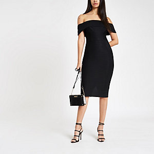 Black bardot bandage mini bodycon dress