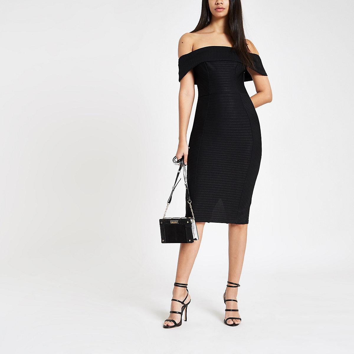 Robe courte Bardot ajustée noire à bande