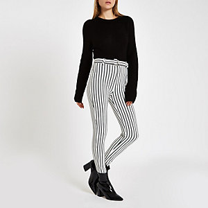 White stripe D ring belted leggings