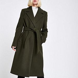 Manteau peignoir en maille kaki à ceinture