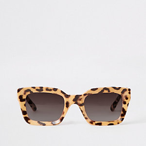 Brown leopard print glam sunglasses
