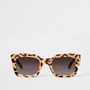 Bruine glamoureuze zonnebril met luipaardprint