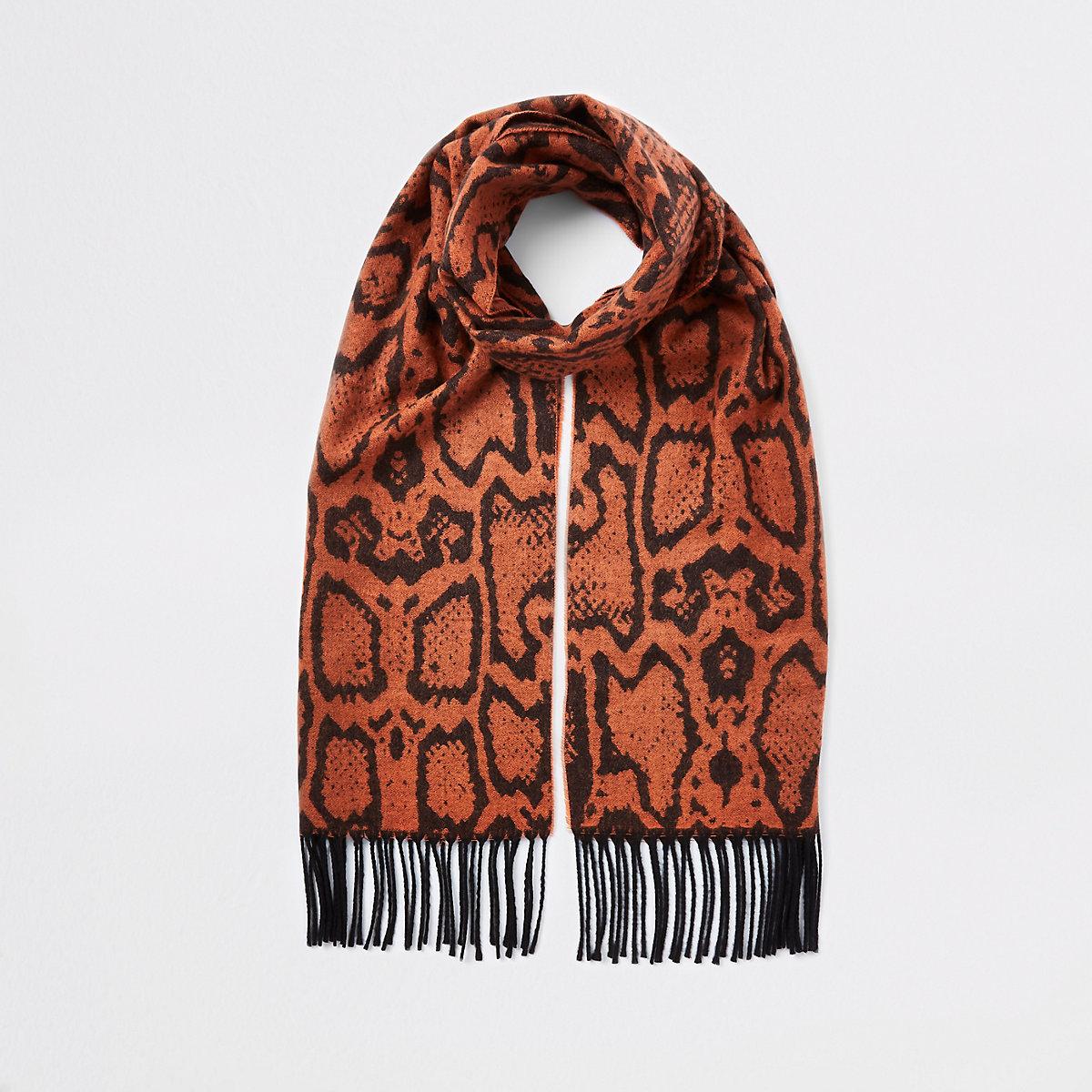 Orange snake print scarf