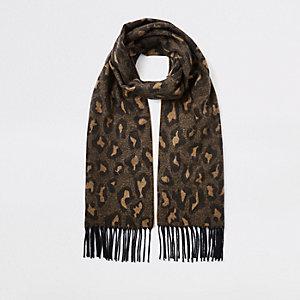 Écharpe imprimé léopard marron