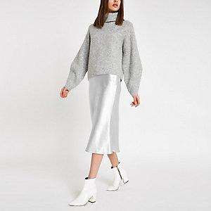 Silver satin midi skirt