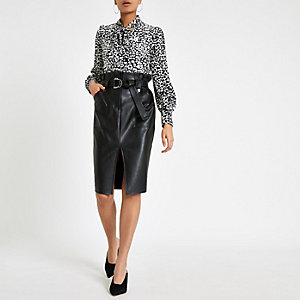 Black paperbag waist pencil skirt