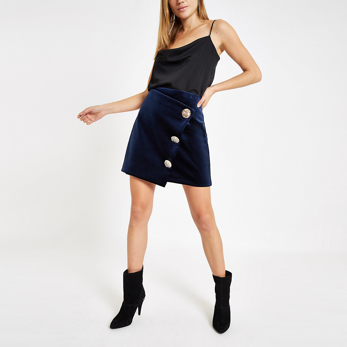 Navy velvet button wrap mini skirt