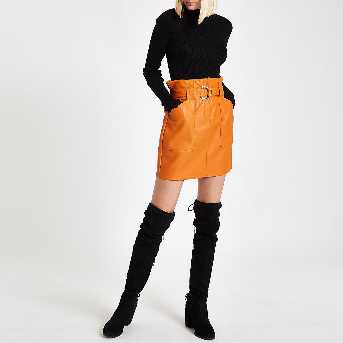 Dark orange paperbag belted mini skirt