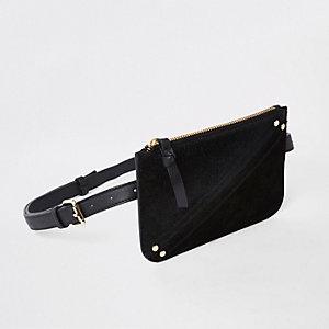 Zwarte leren tas met riem