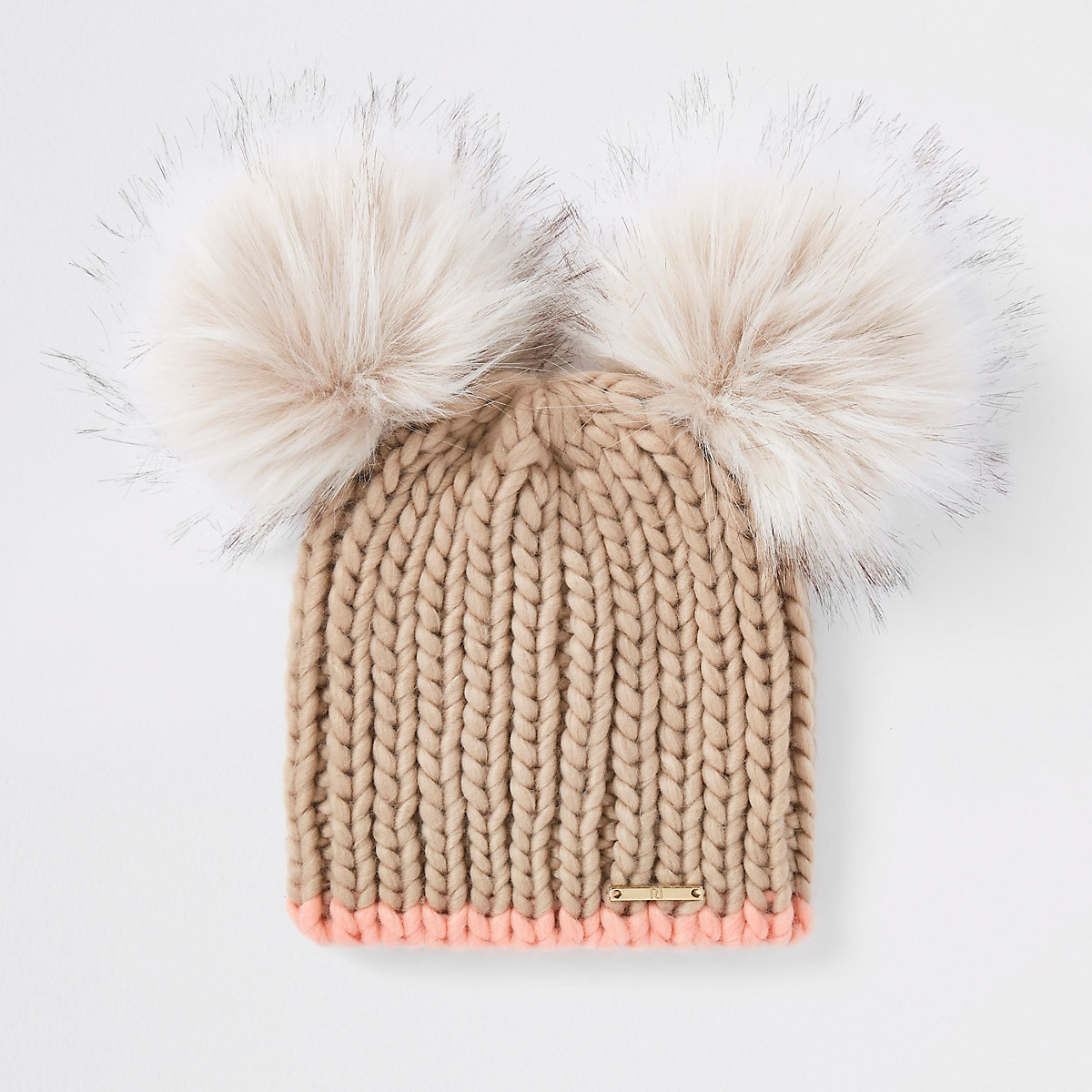 Beige faux fur double pom pom beanie hat - Hats - Accessories - women 80614f75cac5