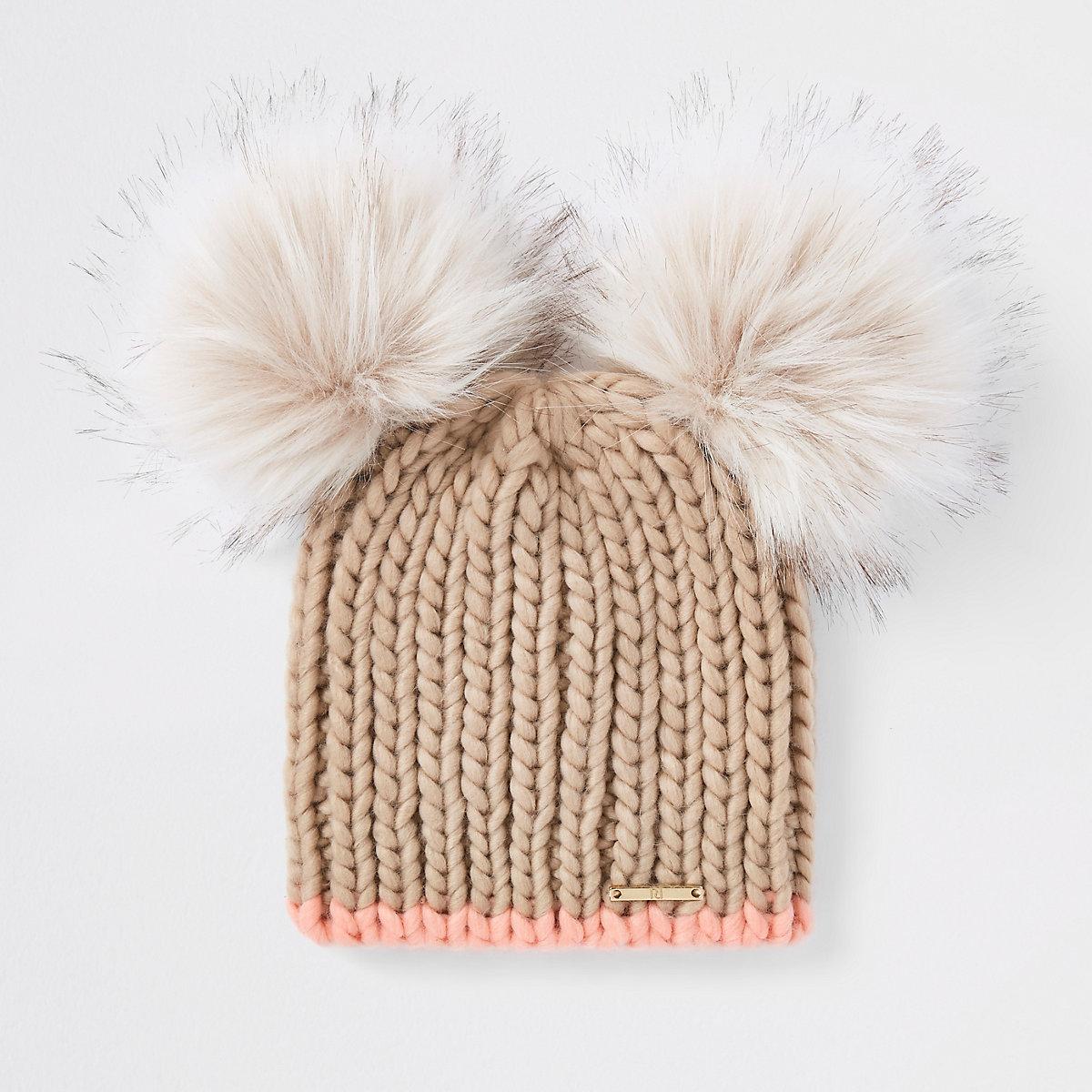 Beige faux fur double pom pom beanie hat - Hats - Accessories - women ebdea2e270a