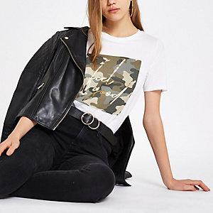 "Weißes Camouflage-T-Shirt mit Folienprint ""feel good"""