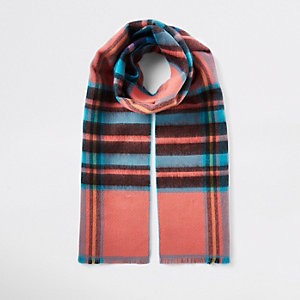 Blue plaid check print scarf