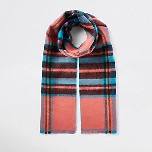 Écharpe à carreaux écossais bleue