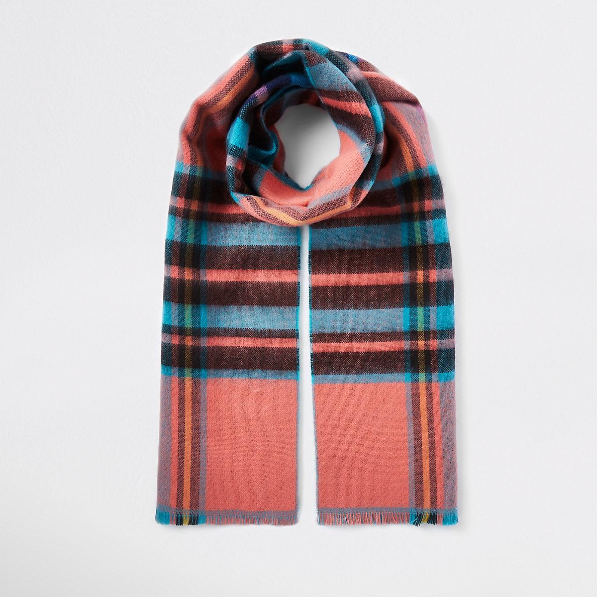 Blue tartan check print scarf
