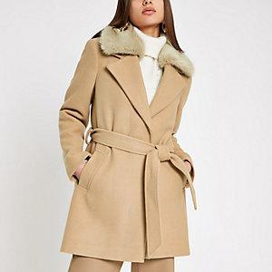 Manteau peignoir marron clair avec fausse fourrure